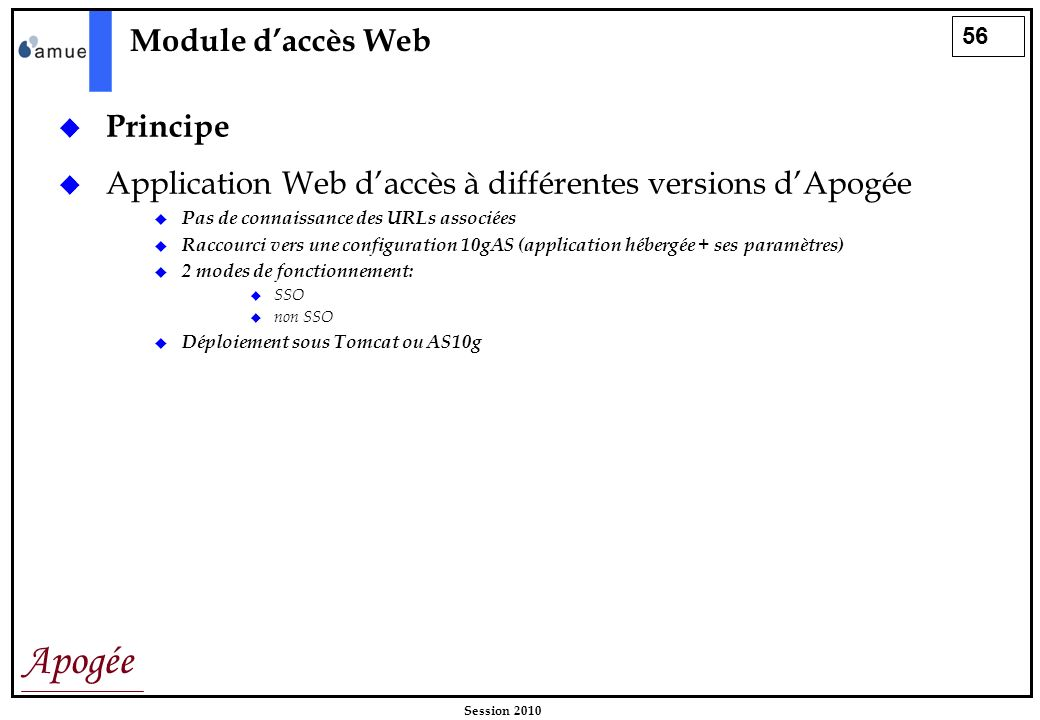 Application Web d'accès à différentes versions d'Apogée