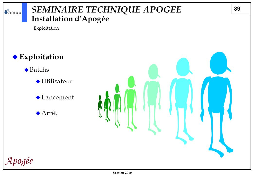 SEMINAIRE TECHNIQUE APOGEE Installation d'Apogée Exploitation