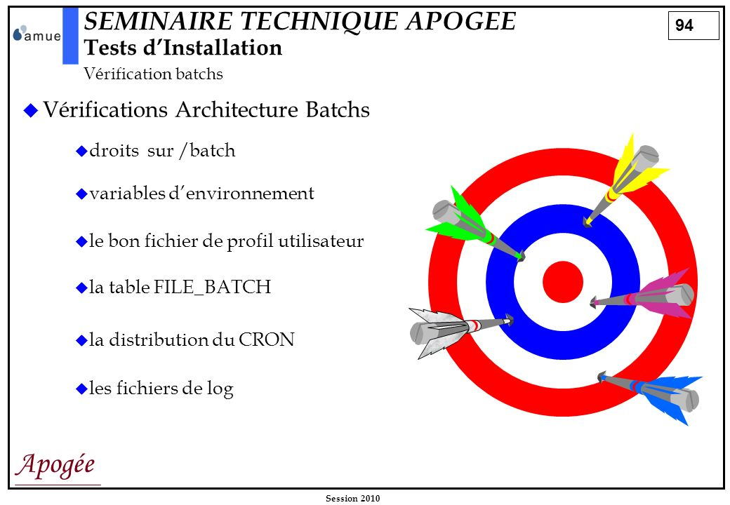 SEMINAIRE TECHNIQUE APOGEE Tests d'Installation Vérification batchs