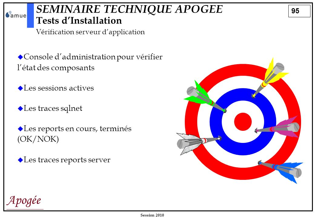 SEMINAIRE TECHNIQUE APOGEE Tests d'Installation