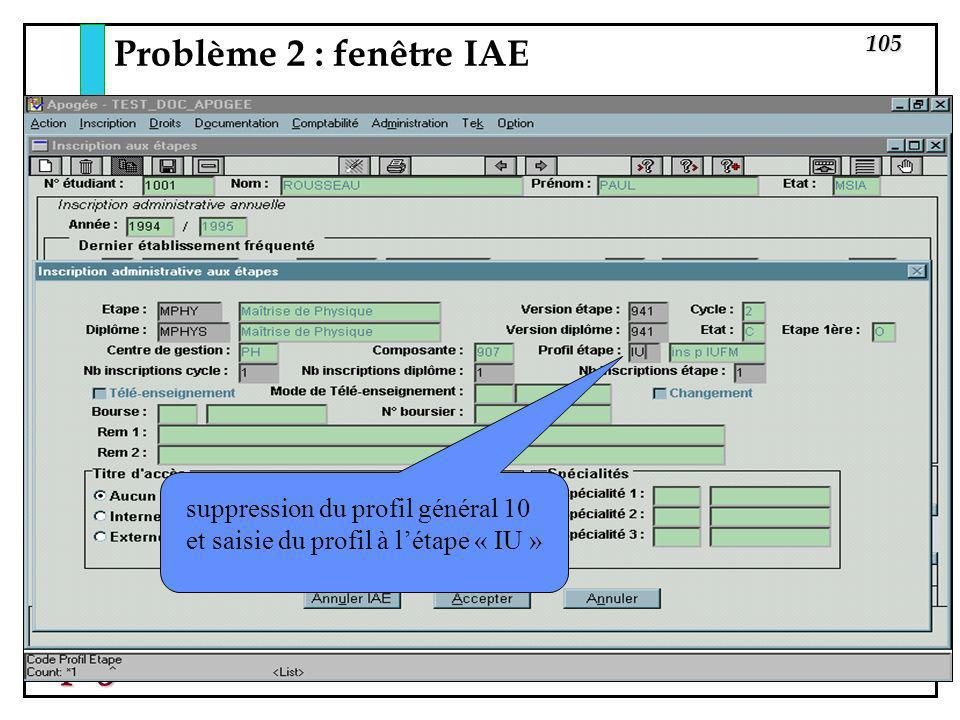 Problème 2 : fenêtre IAE suppression du profil général 10 et saisie du profil à l'étape « IU »