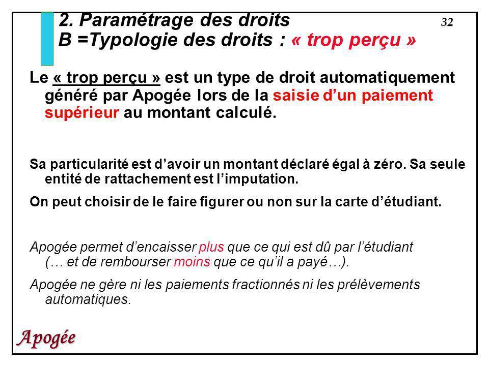 2. Paramétrage des droits B =Typologie des droits : « trop perçu »
