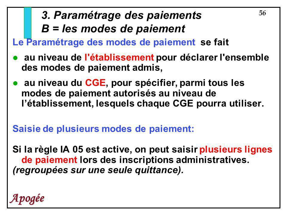 3. Paramétrage des paiements B = les modes de paiement