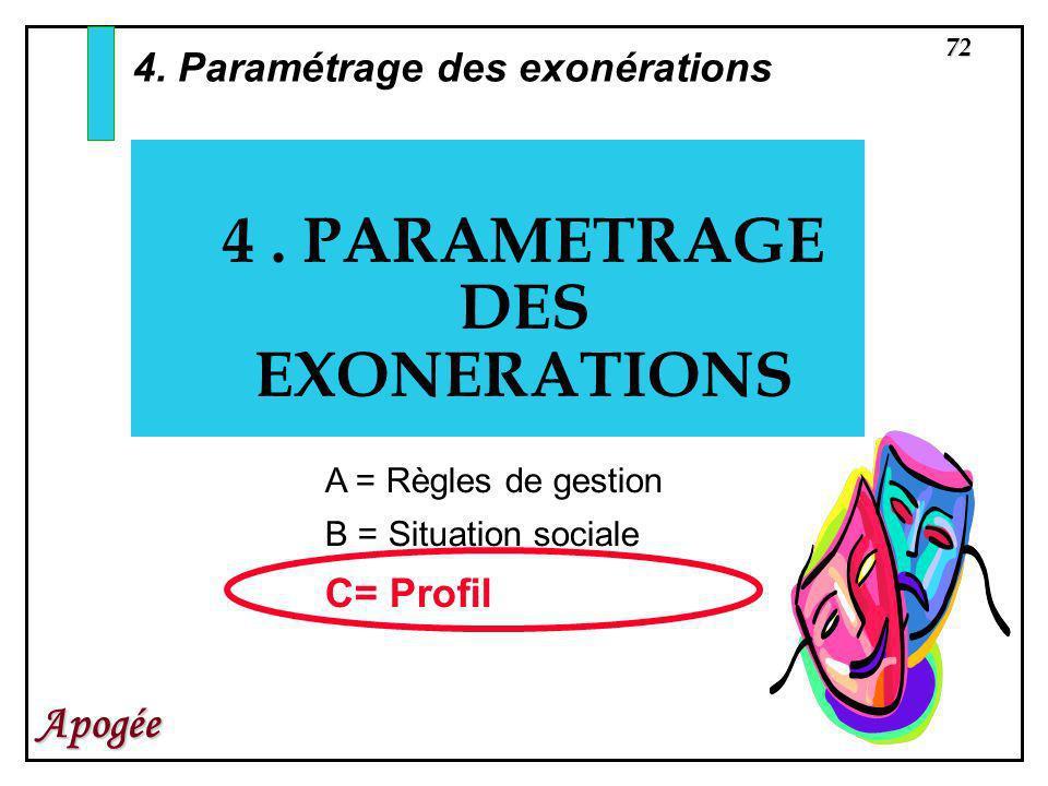4 . PARAMETRAGE DES EXONERATIONS