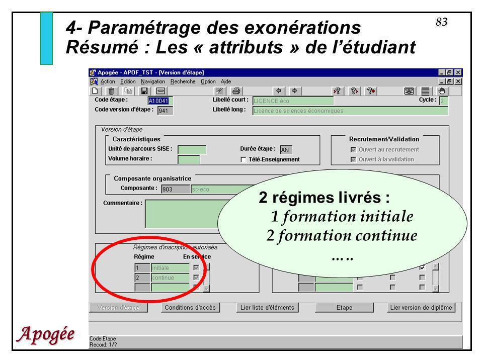 4- Paramétrage des exonérations