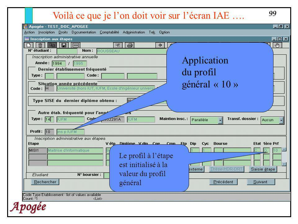 Voilà ce que je l'on doit voir sur l'écran IAE ….