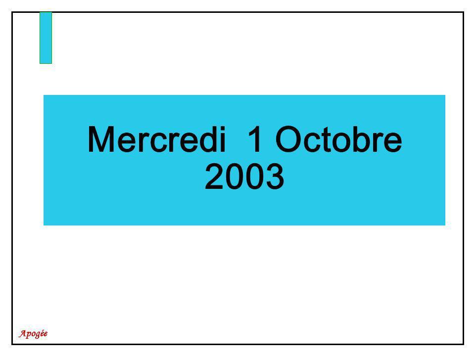 Mercredi 1 Octobre 2003