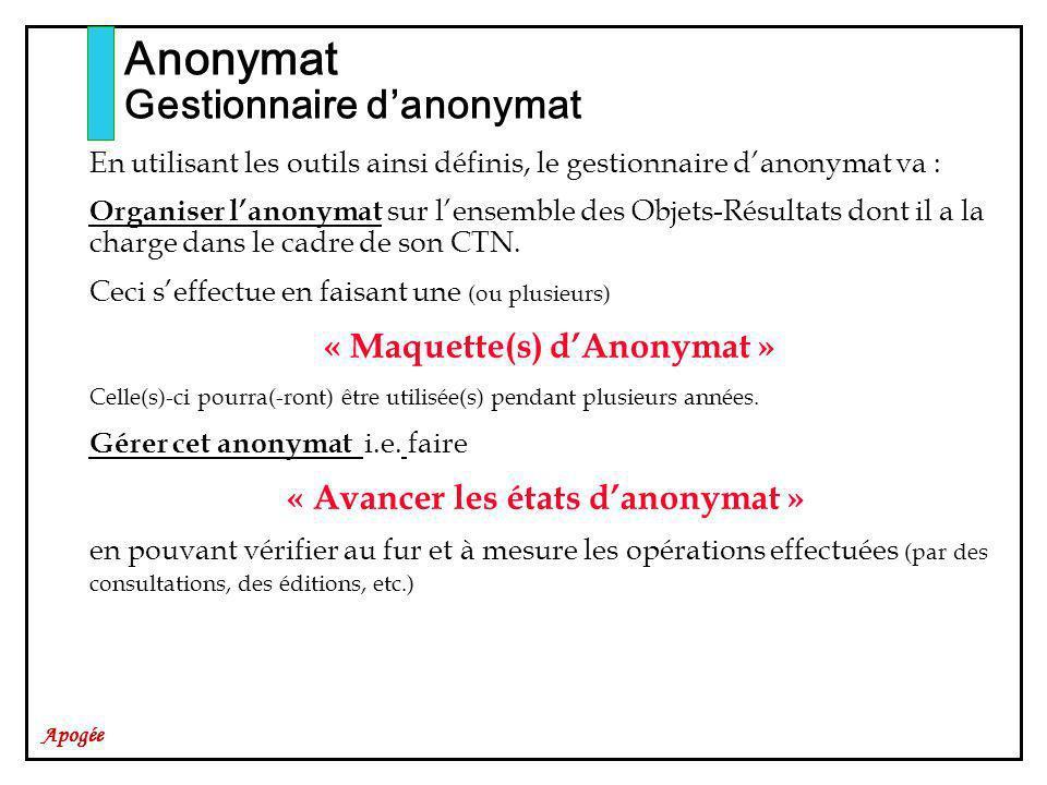 « Avancer les états d'anonymat »