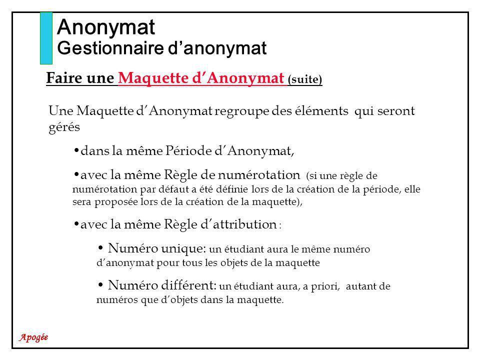 Anonymat Gestionnaire d'anonymat Faire une Maquette d'Anonymat (suite)