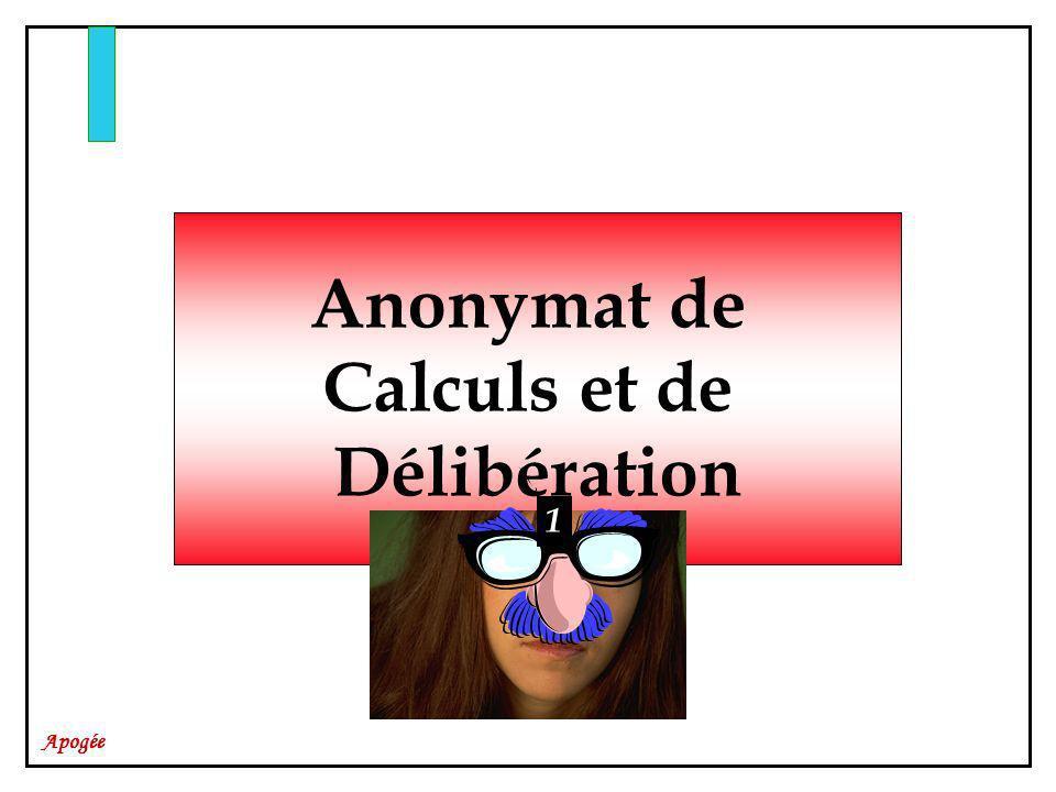 Anonymat de Calculs et de Délibération