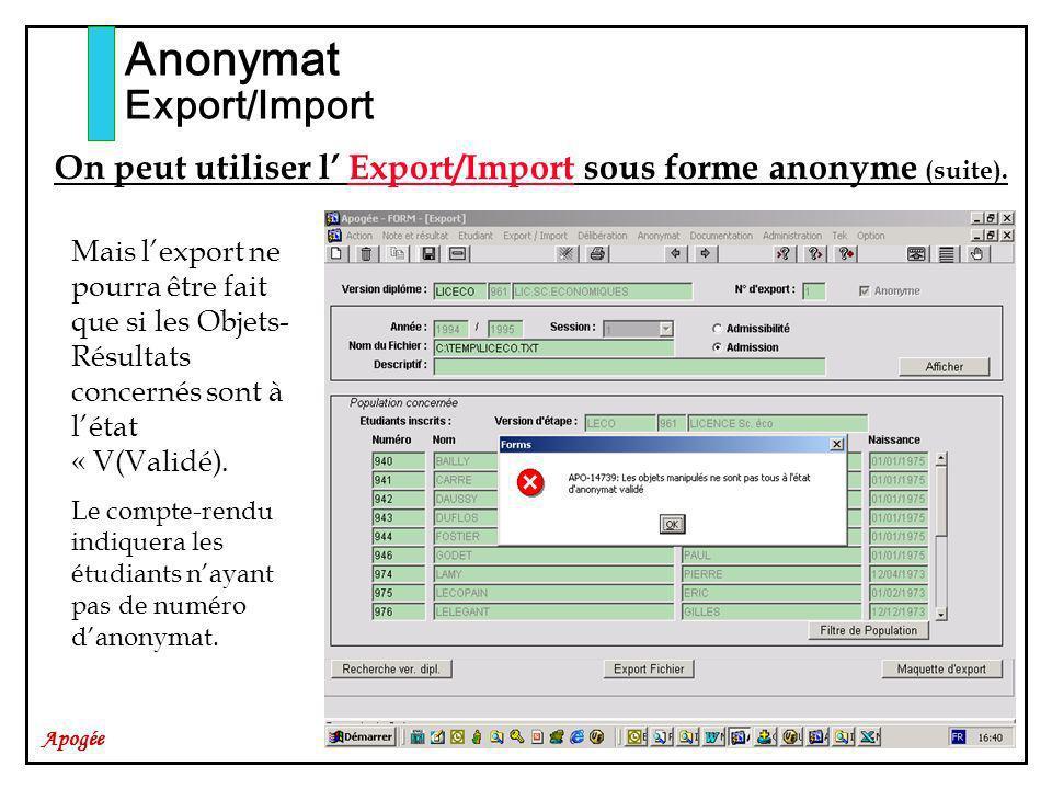 Anonymat Export/Import