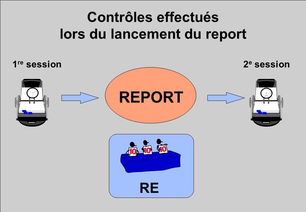 Contrôles effectués lors du lancement du report