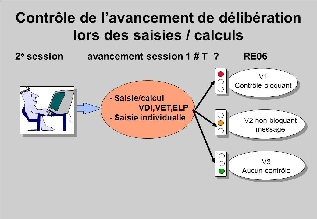 Contrôle de l'avancement de délibération lors des saisies / calculs