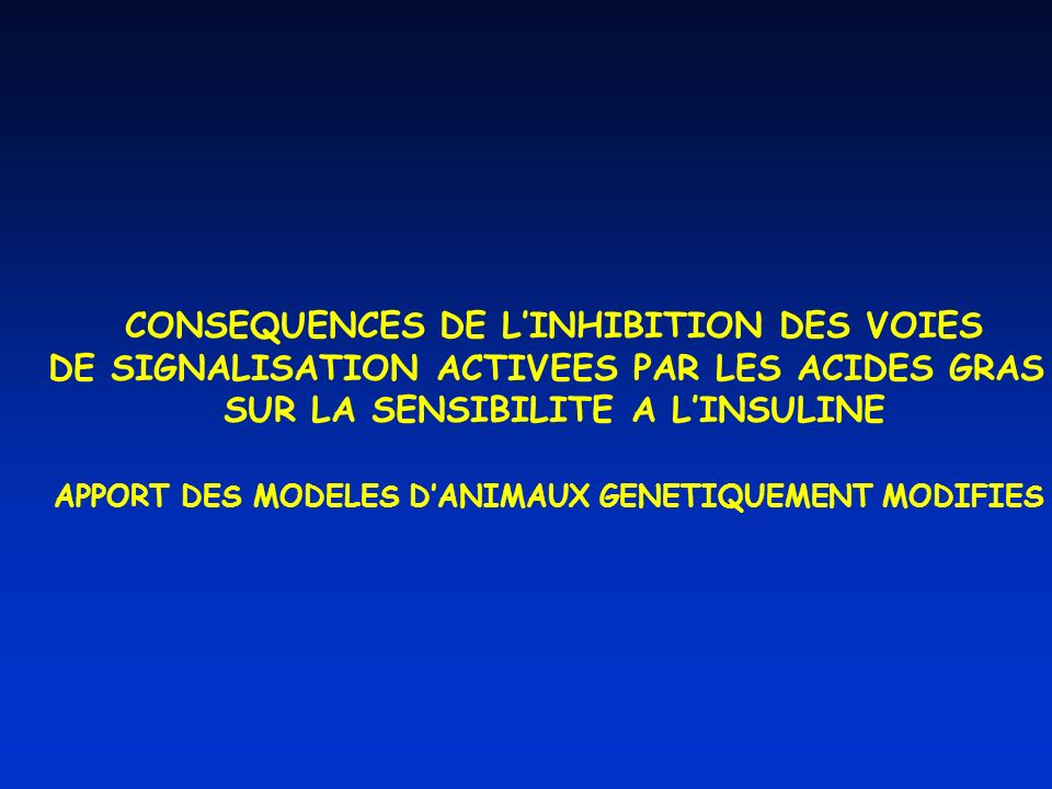 CONSEQUENCES DE L'INHIBITION DES VOIES