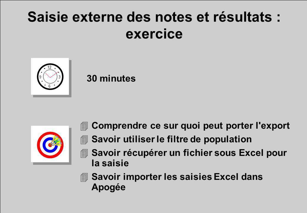 Saisie externe des notes et résultats : exercice