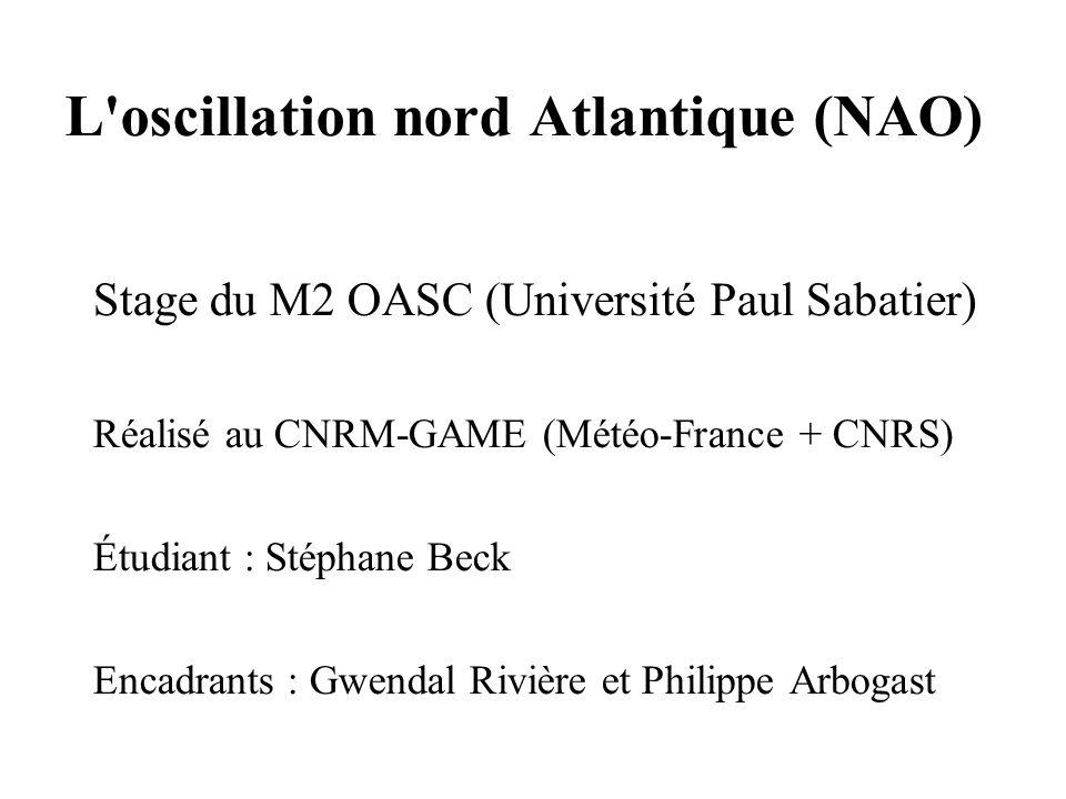 L oscillation nord Atlantique (NAO)