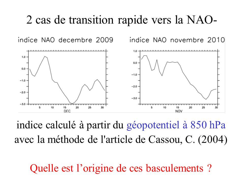 2 cas de transition rapide vers la NAO-