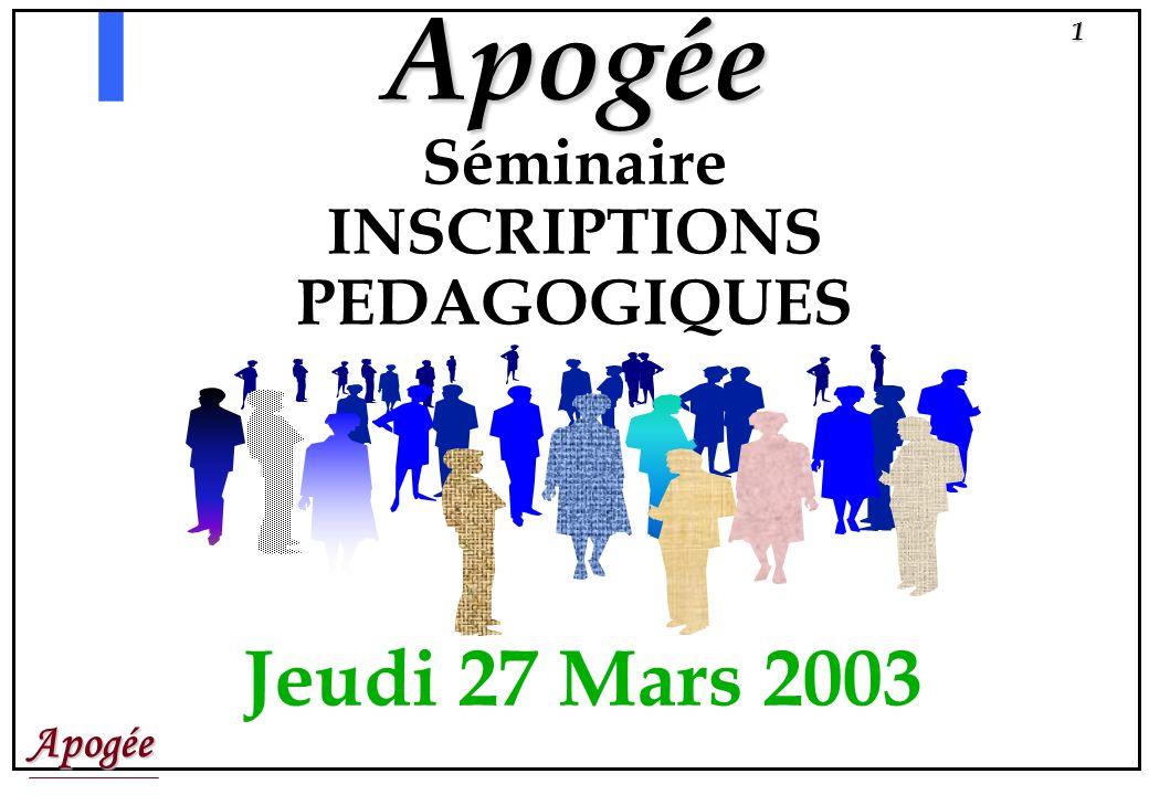 Apogée Séminaire INSCRIPTIONS PEDAGOGIQUES Jeudi 27 Mars 2003