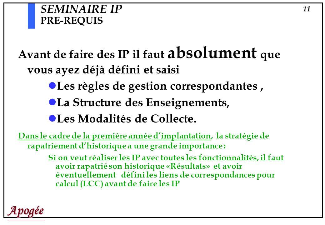 SEMINAIRE IP PRE-REQUIS