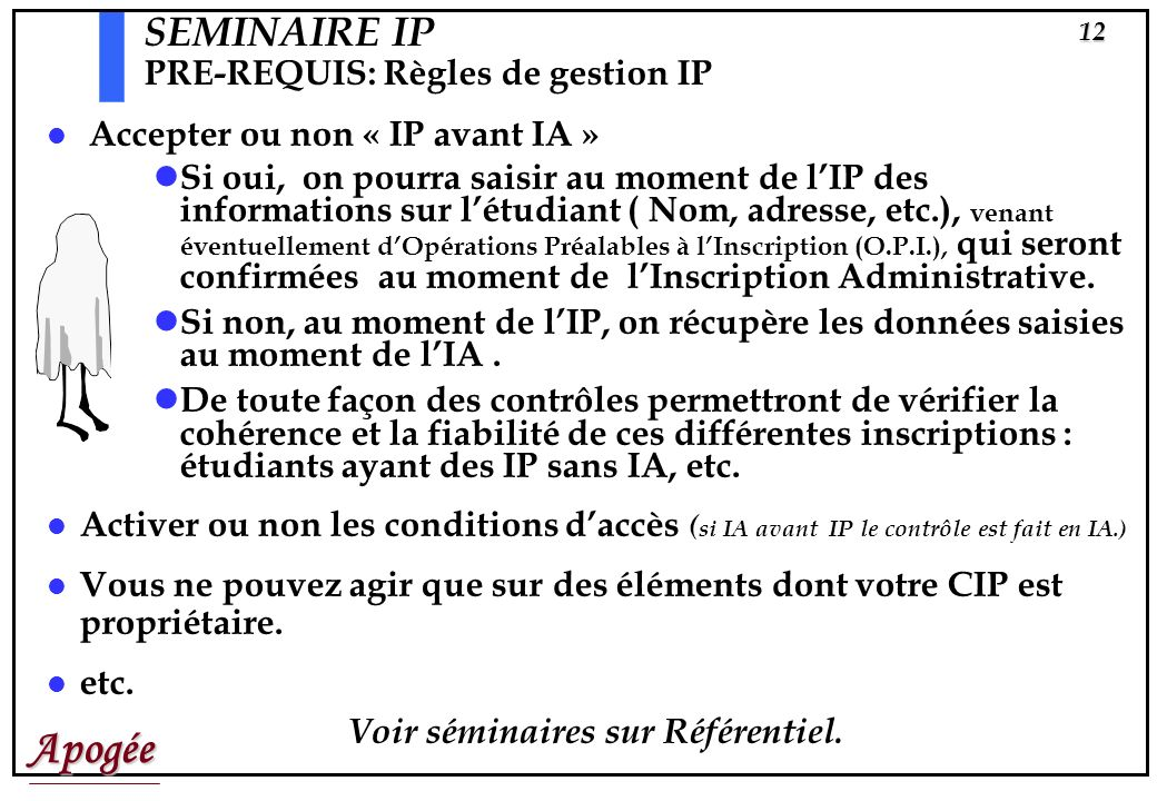 SEMINAIRE IP PRE-REQUIS: Règles de gestion IP