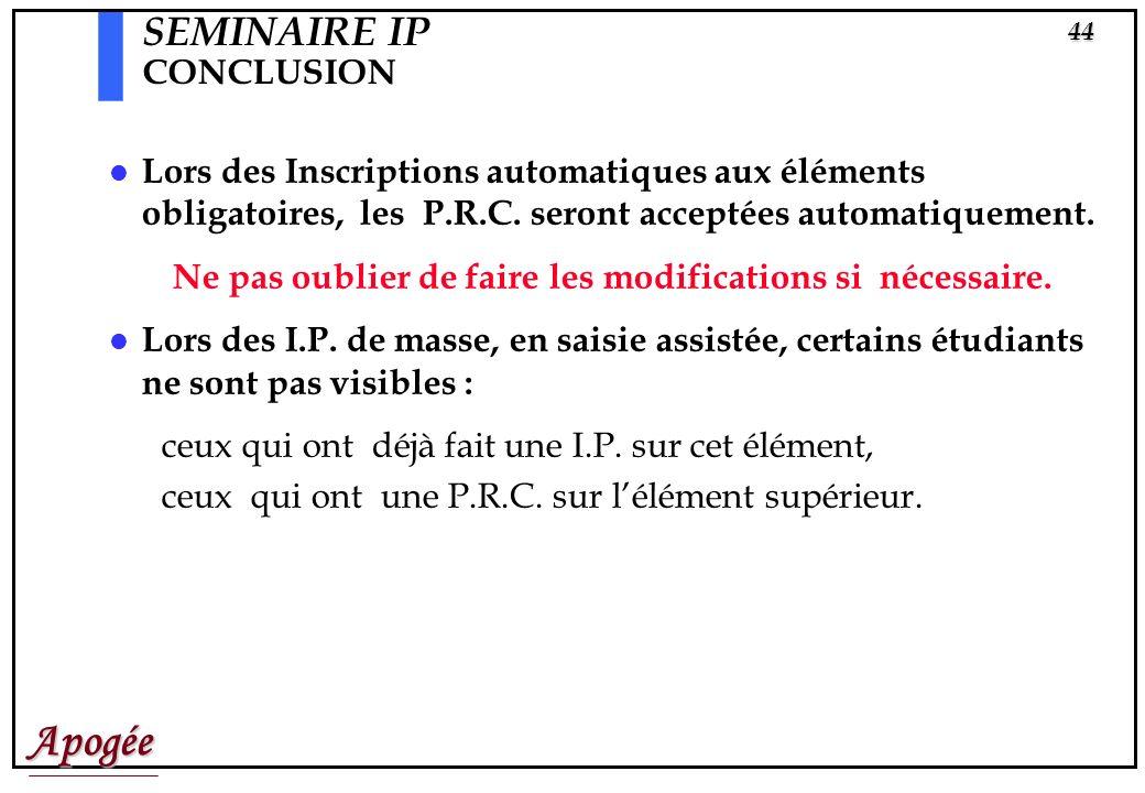 SEMINAIRE IP CONCLUSION