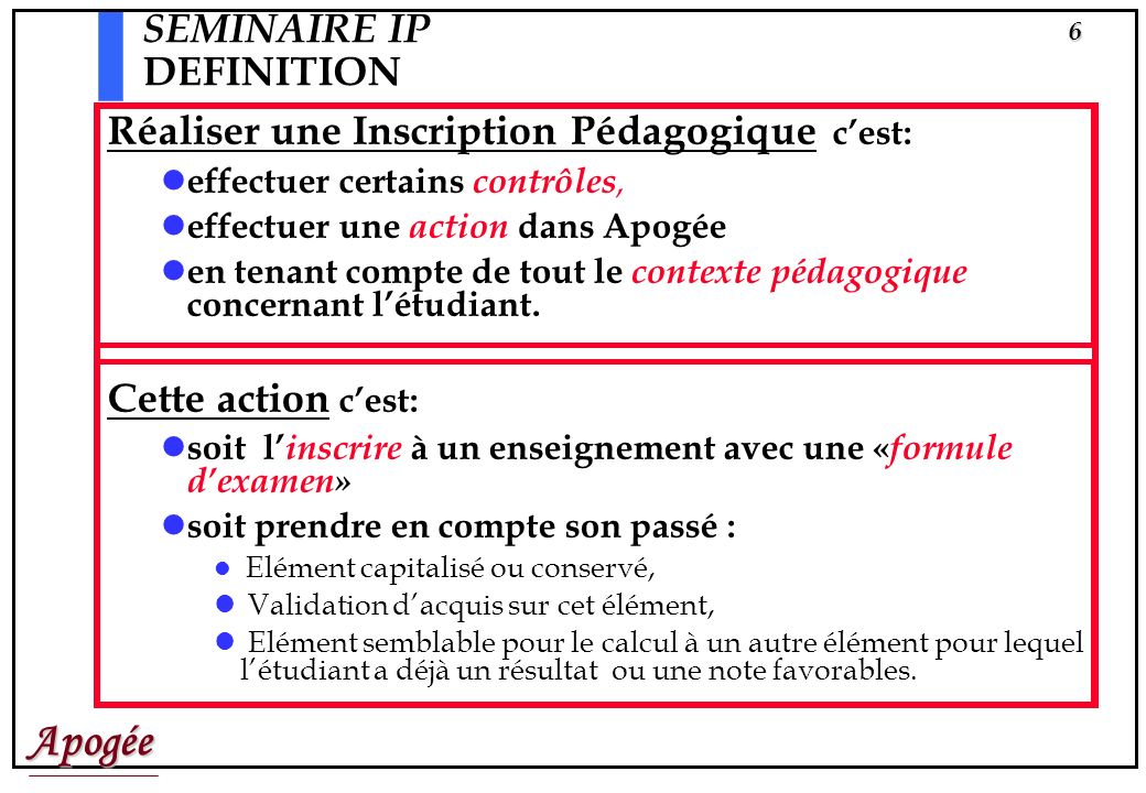 SEMINAIRE IP DEFINITION