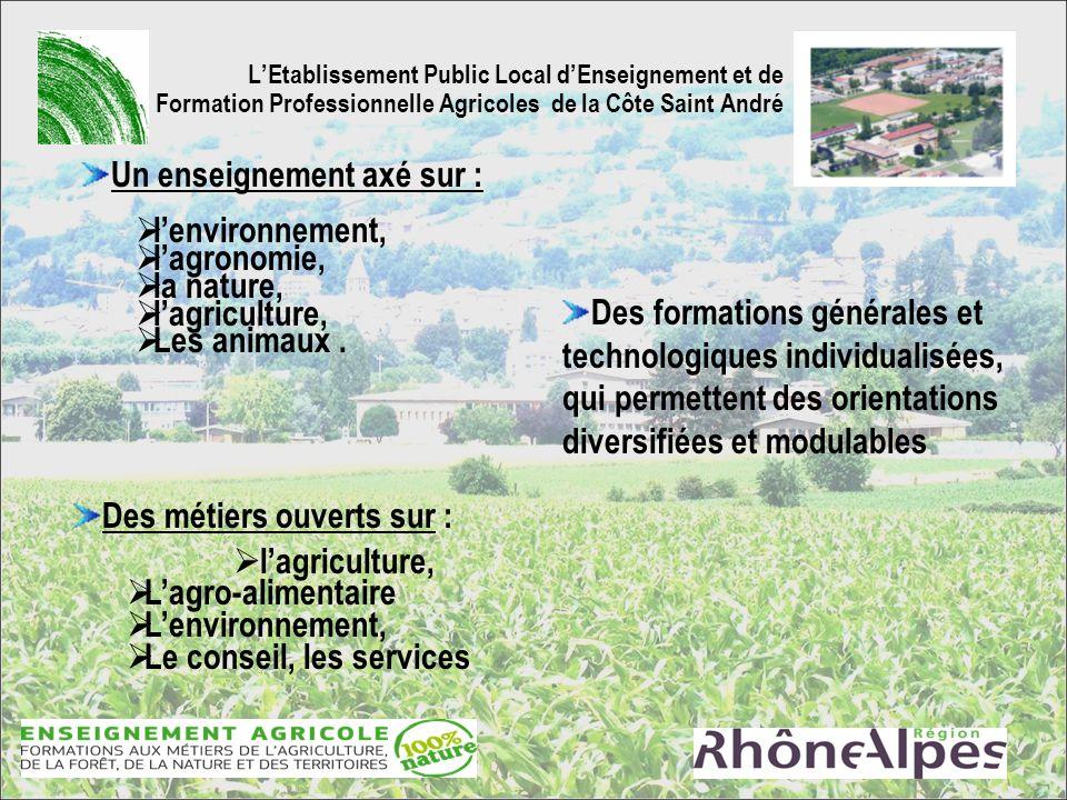 Un enseignement axé sur : l'environnement, l'agronomie, la nature,