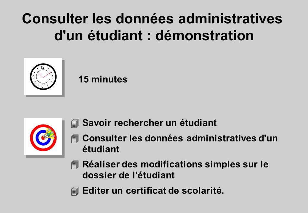 Consulter les données administratives d un étudiant : démonstration