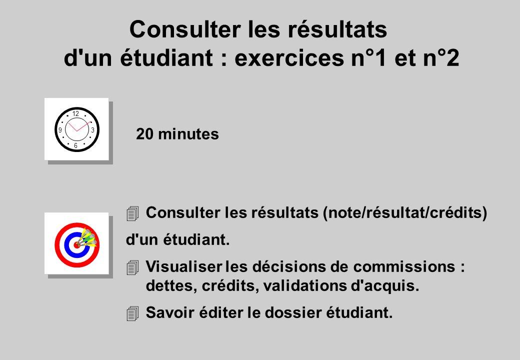 Consulter les résultats d un étudiant : exercices n°1 et n°2