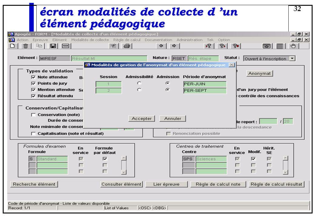 écran modalités de collecte d 'un élément pédagogique
