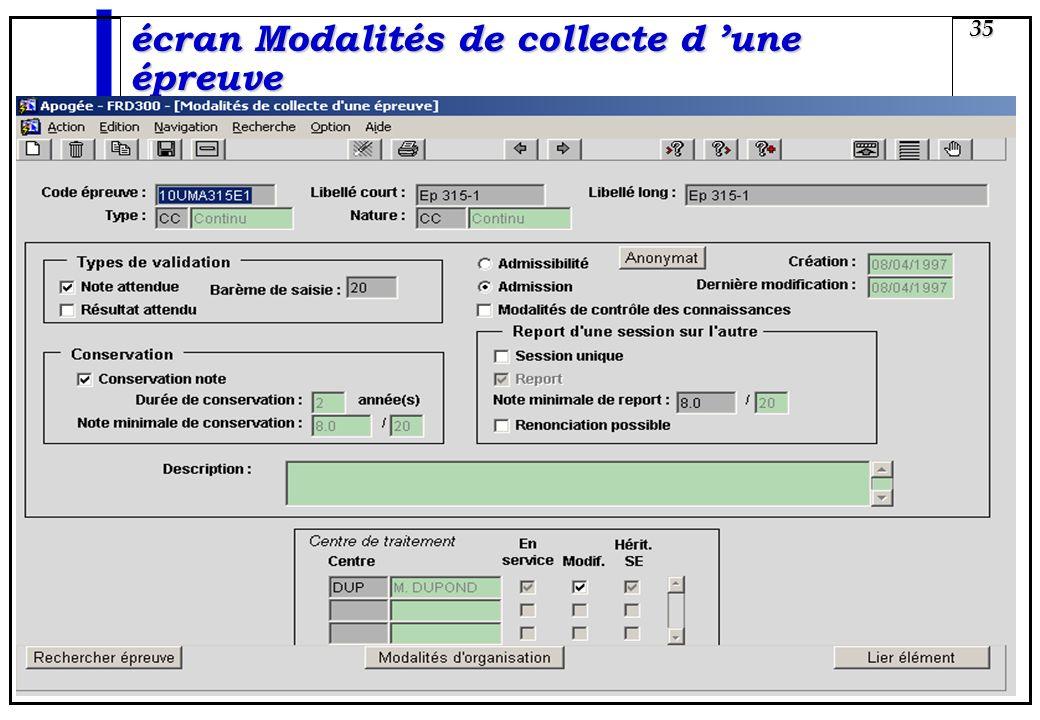 écran Modalités de collecte d 'une épreuve