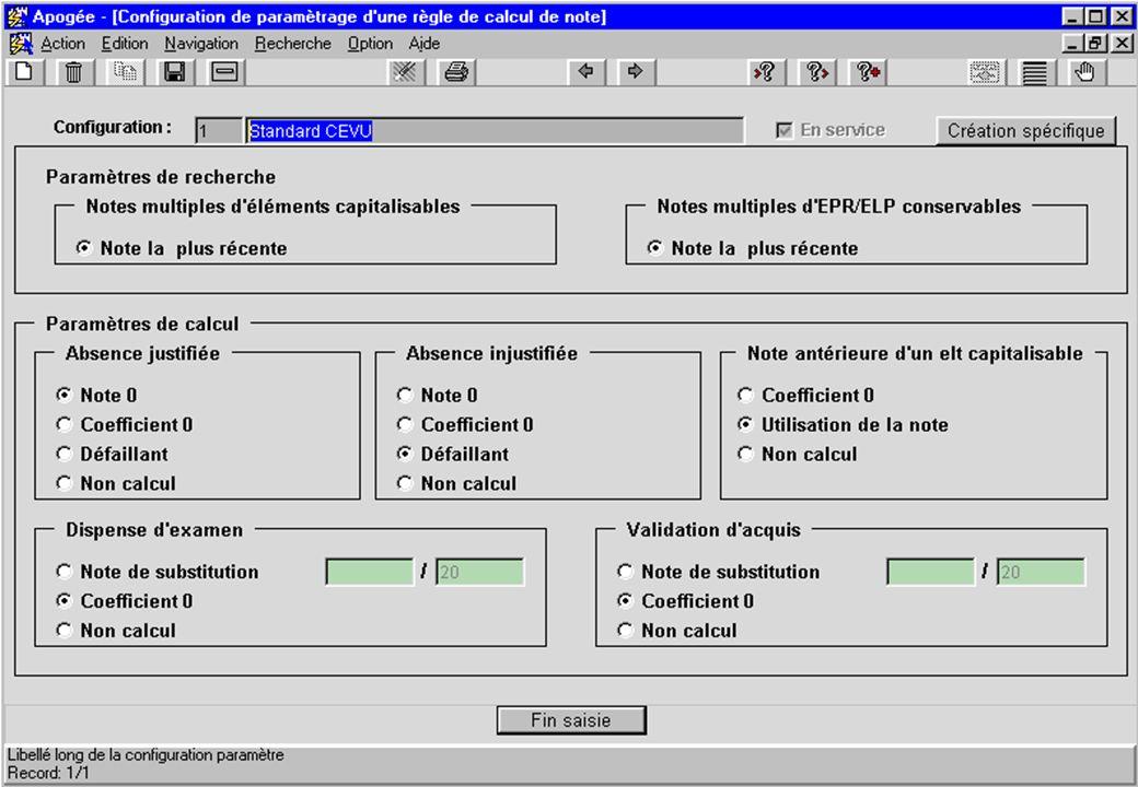 écran Configuration de paramétrage de règle de calcul