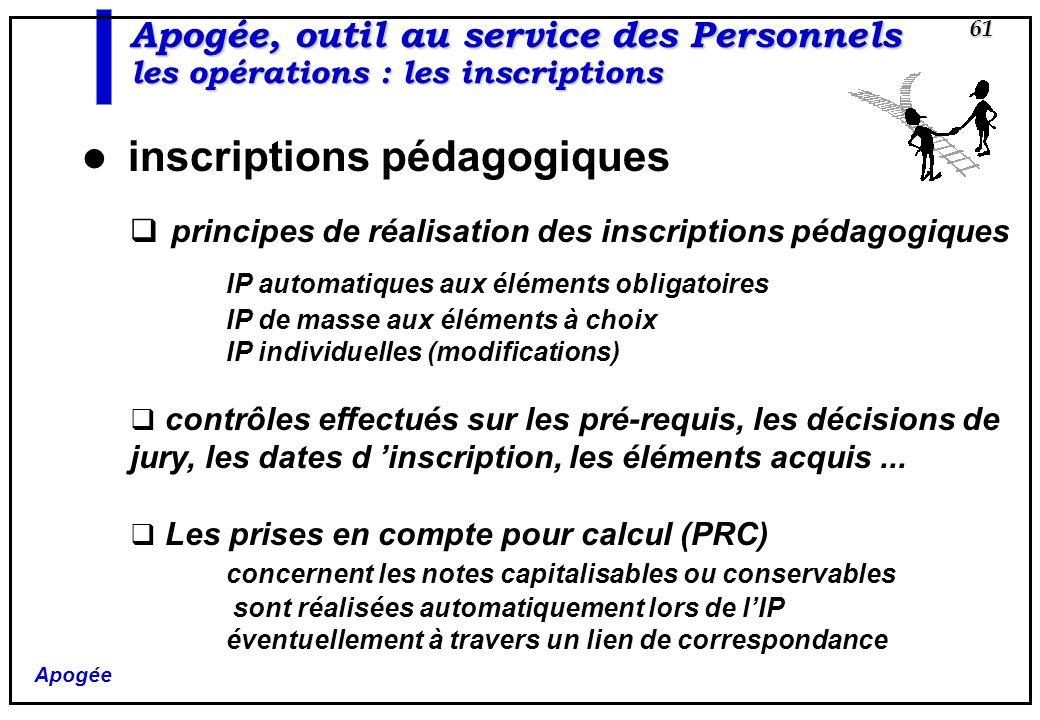 principes de réalisation des inscriptions pédagogiques