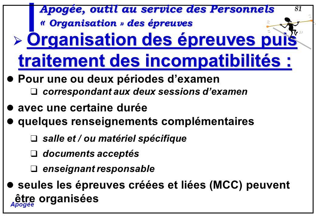 Apogée, outil au service des Personnels « Organisation » des épreuves