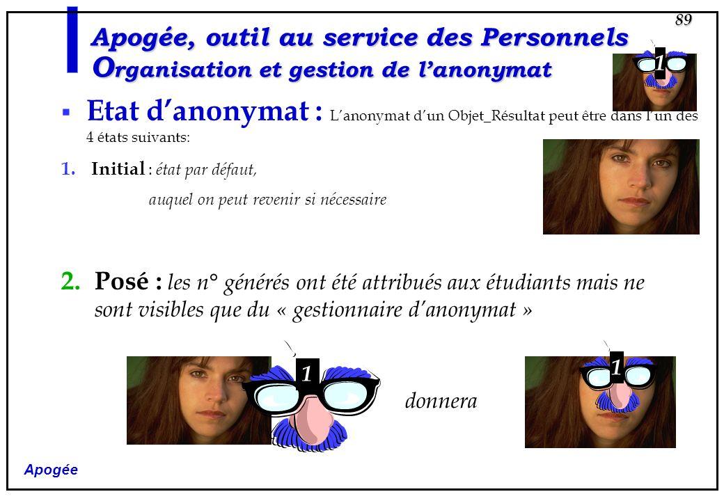 Apogée, outil au service des Personnels Organisation et gestion de l'anonymat