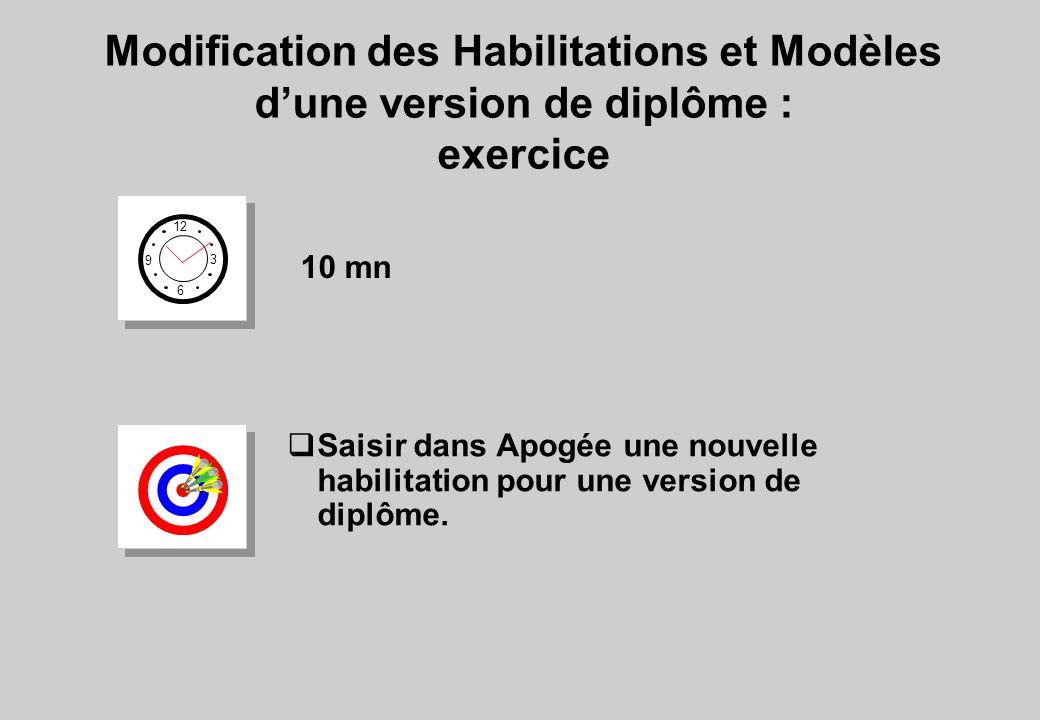 Modification des Habilitations et Modèles d'une version de diplôme :
