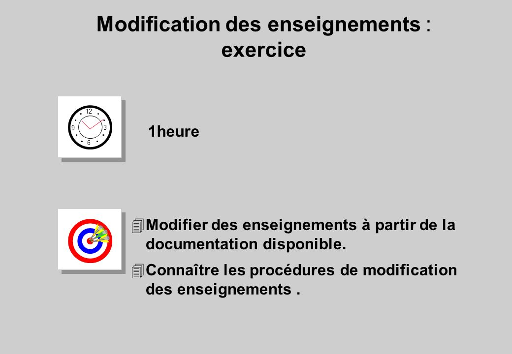 Modification des enseignements : exercice