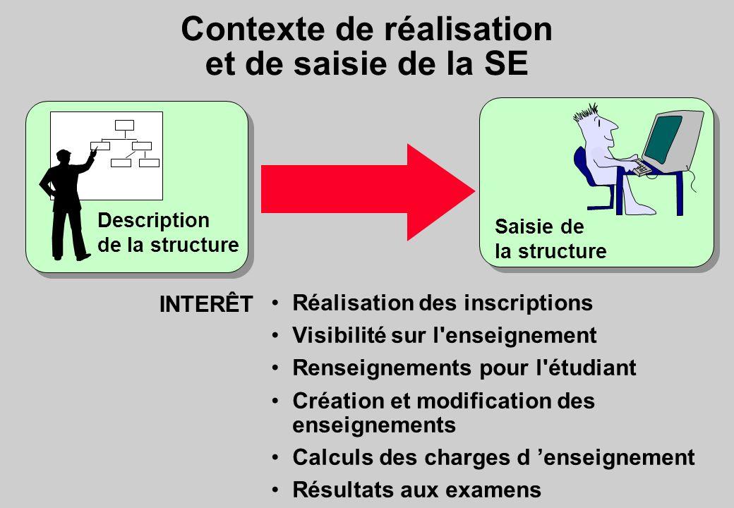 Contexte de réalisation et de saisie de la SE
