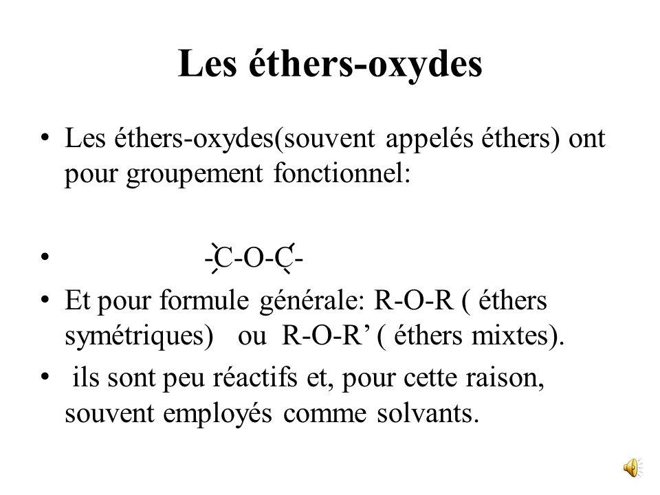 Les éthers-oxydes Les éthers-oxydes(souvent appelés éthers) ont pour groupement fonctionnel: -C-O-C-
