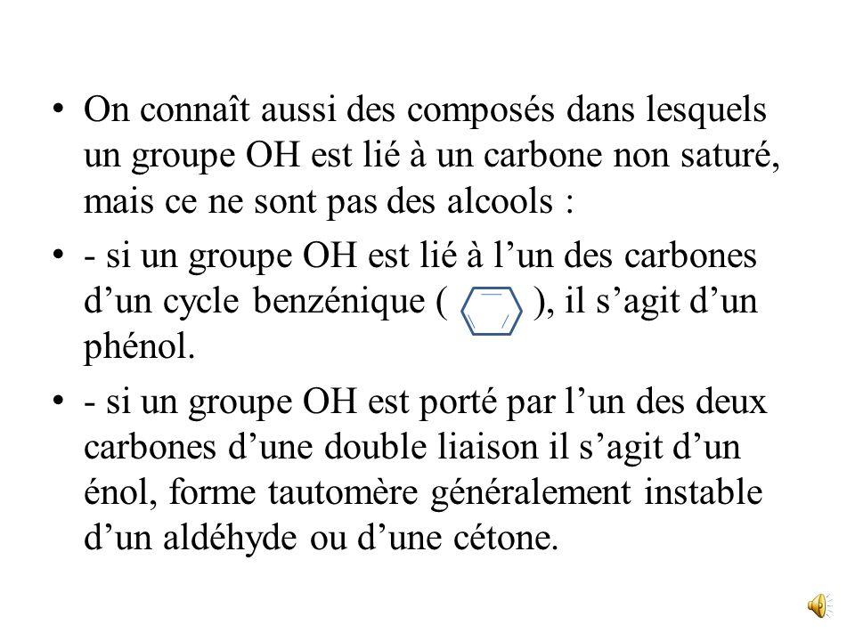 On connaît aussi des composés dans lesquels un groupe OH est lié à un carbone non saturé, mais ce ne sont pas des alcools :