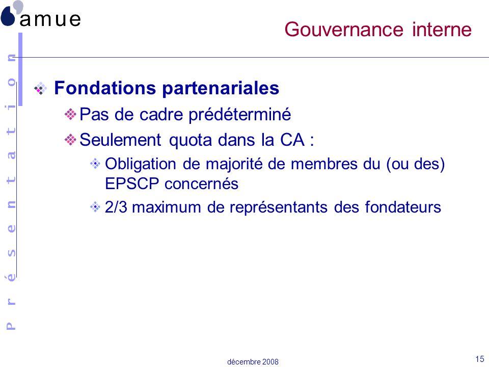 Gouvernance interne Fondations partenariales Pas de cadre prédéterminé