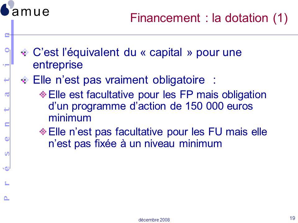 Financement : la dotation (1)