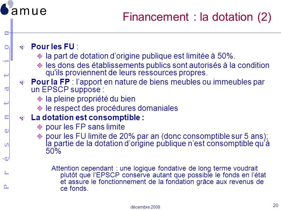 Financement : la dotation (2)