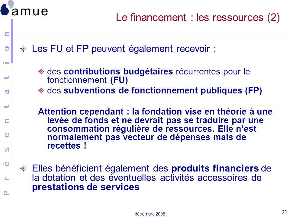 Le financement : les ressources (2)