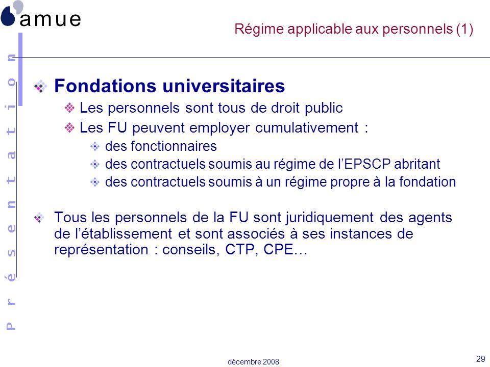 Régime applicable aux personnels (1)