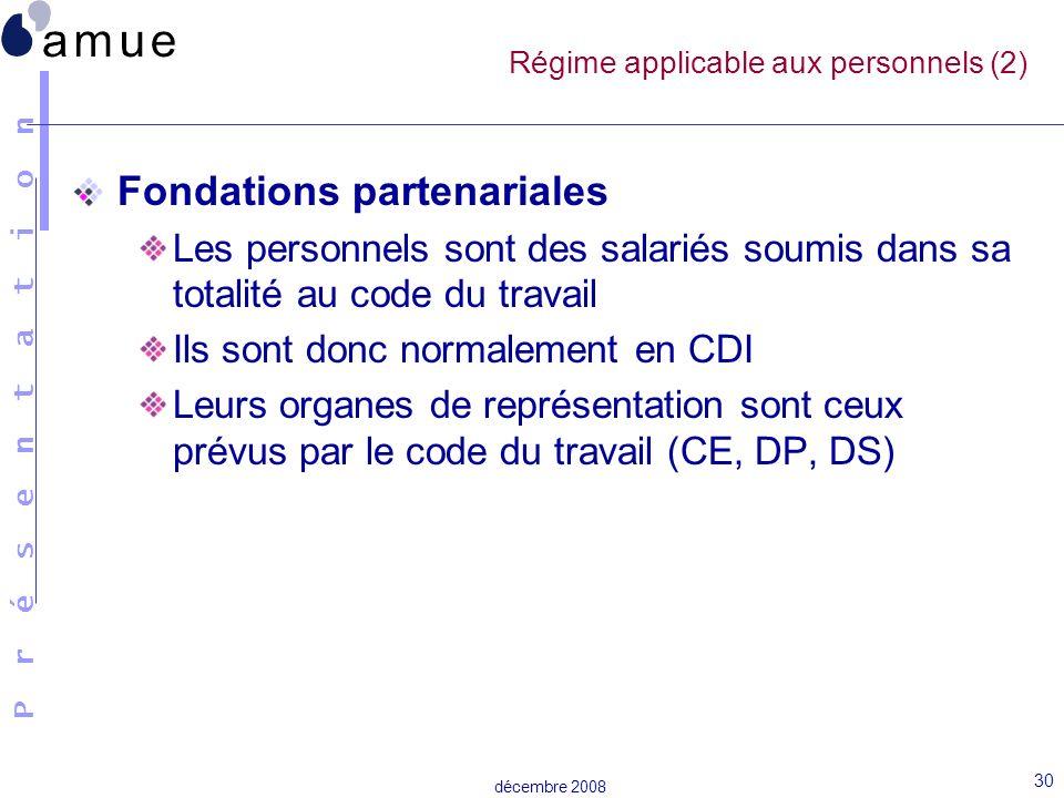 Régime applicable aux personnels (2)