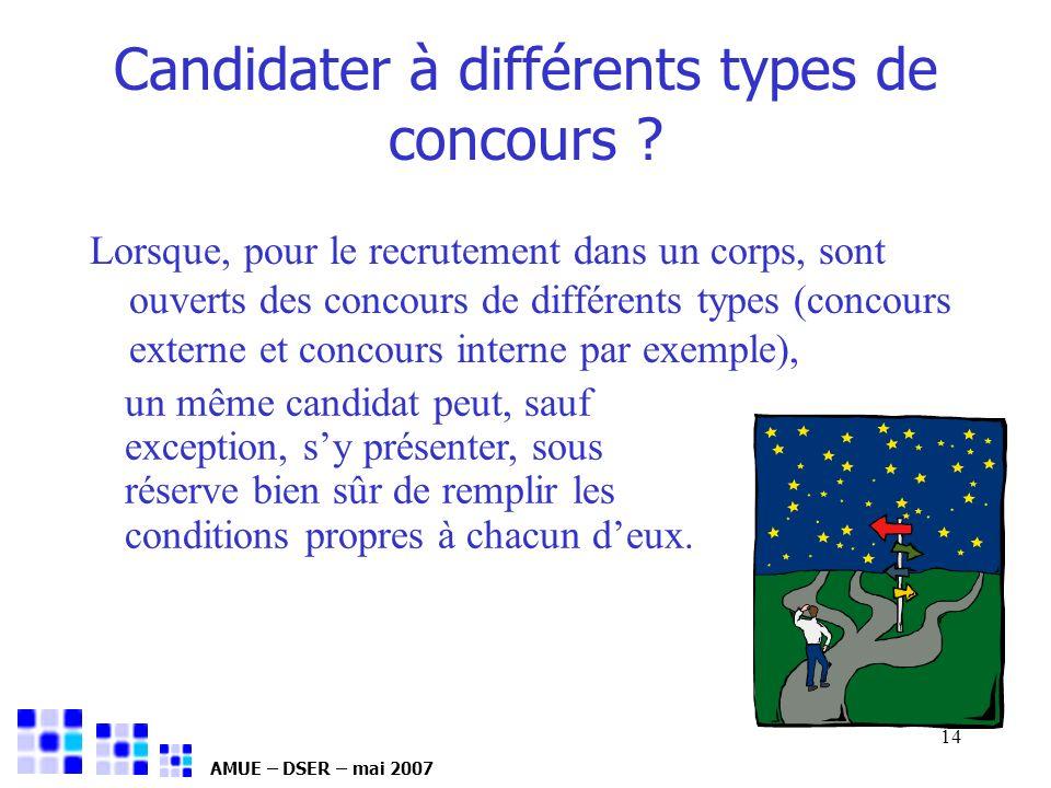 Candidater à différents types de concours