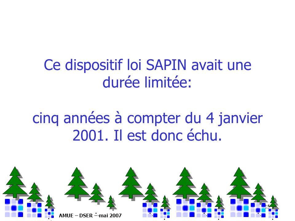 26/03/2017 Ce dispositif loi SAPIN avait une durée limitée: cinq années à compter du 4 janvier 2001. Il est donc échu.