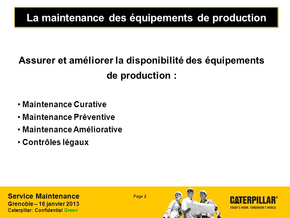 La maintenance des équipements de production