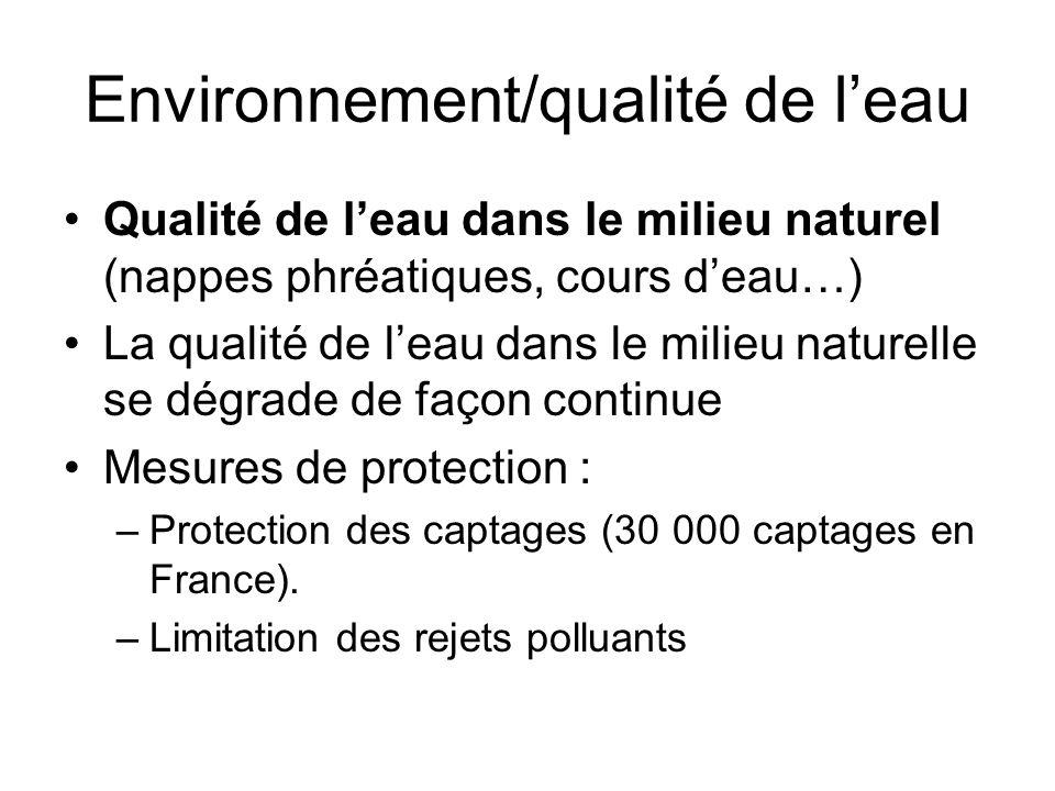 Environnement/qualité de l'eau